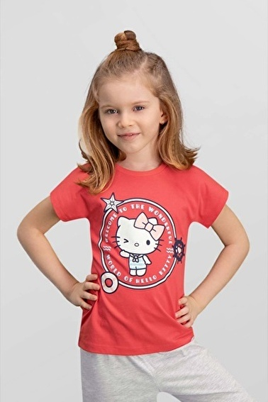 Hello Kitty Lisanslı Kız Çocuk T-Shirt Kırmızı